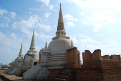 Treble ancient white pagoda. Stock Photos