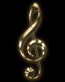 treble clef золотистый Стоковое фото RF