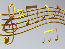 Treble clef. Illustration of gold musical notes and a treble clef symbol Royalty Free Stock Images