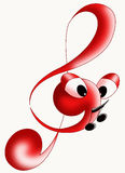 Treble clef. Nice color illustration of a musical key Stock Images
