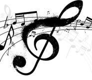 Treble clef. Black treble clef with ink splash Royalty Free Stock Photo