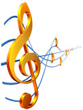 Treble clef. Gold musical score with treble clef as a symbol of music creation Royalty Free Stock Image