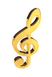 Treble clef. Music Concept. Golden treble clef on a white background Stock Images