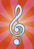 Treble clef. Shiny design treble clef with background Stock Images