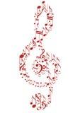 Treble clef. Shiny design treble clef with background Stock Image