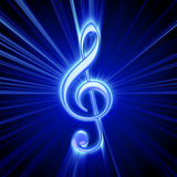 Treble clef. Shiny blue treble clef symbol Stock Photography