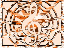 Treble clef on abstract background Stock Images