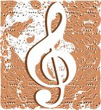 Treble clef on abstract colorful background. An abstract illustration with treble clef. A nice background usable not only for project about music, but for vector illustration