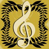Treble clef on abstract colorful background Stock Images