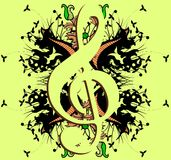 Treble clef on abstract colorful background Royalty Free Stock Images