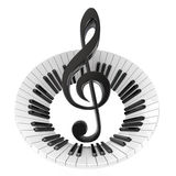 Treble clef in abstract piano keyboard. Symbol of music. 3D render illustration isolated on white background royalty free illustration