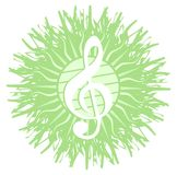 Treble clef on artistic decoration isolated Royalty Free Stock Photography