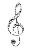 Treble clef assembled from new auto spare parts Stock Images