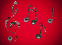 Treble clef assembled from new auto spare parts Stock Photo