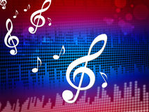 Treble Clef Background Shows Digital Audio Notes Stock Photos