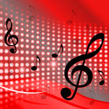 Treble Clef Background Shows Music Notes And Stock Images