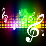 Treble Clef Background Shows Sound Vibrations Frequency Stock Images