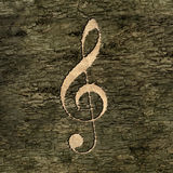 Treble clef on on the bark Royalty Free Stock Photography