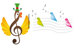 Treble clef is bird. And singing birds Royalty Free Stock Photo