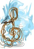 Treble clef and bird Royalty Free Stock Photos