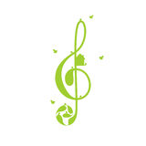 Treble clef and birds Stock Image