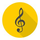 Treble Clef Black icon with long shadow Stock Photos