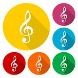 Treble Clef Black icons set with long shadow Royalty Free Stock Images