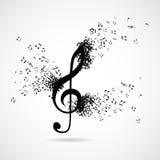 Treble clef with burst effect vector illustration