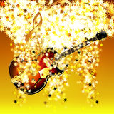 Treble clef in the cloud of stars and jazz guitar Royalty Free Stock Photo