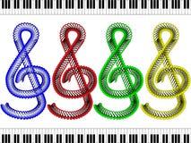 Treble clef czerwień, błękit, zieleń i kolor żółty -, ilustracji