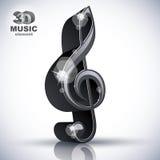 Treble clef 3d black music design element. Royalty Free Stock Images