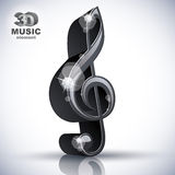 Treble clef 3d black music design element. Royalty Free Stock Images