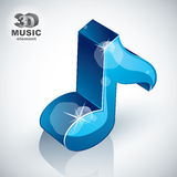 Treble clef 3d blue music design element, vector illustration. Stock Image