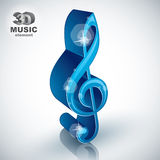 Treble clef 3d blue music design element, vector Stock Photo