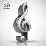 Treble clef 3d metallic music design element, vector illustratio Stock Image