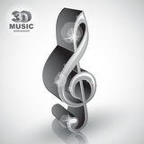 Treble clef 3d metallic music design element, vector illustratio Stock Photography