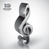 Treble clef 3d metallic music design element, vector illustratio Stock Photography