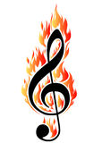 Treble clef in fire. illustration for design or tattoo. Royalty Free Stock Photos