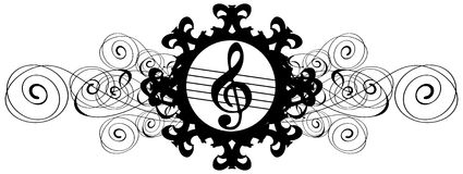 Treble clef on floral decoration in black isolated Royalty Free Stock Photos