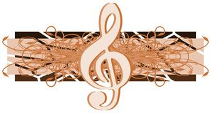 Treble clef on floral decoration isolated Stock Photo