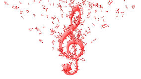 Treble clef with flying notes Royalty Free Stock Photography