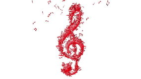Treble clef with flying notes stock footage