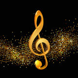 Treble clef golden Stock Photography