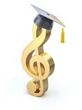 Treble clef with graduation cap. Golden treble clef with graduation cap - 3D illustration Stock Photo
