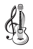 Treble clef and guitar. Monochrome illustration of treble clef and guitar Royalty Free Stock Photos