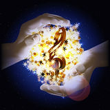 Treble clef hands stars  in space Royalty Free Stock Photos