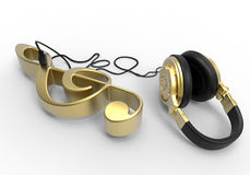 Treble clef with headphones concept Stock Images