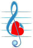 Treble clef and heart Royalty Free Stock Image