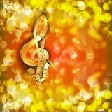 Treble clef i saksofon przeciw jaskrawemu tłu z racami ilustracja wektor