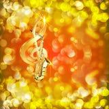 Treble clef i saksofon przeciw jaskrawemu tłu z racami Obrazy Stock